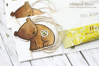 Honiggodies, Stampinup Swaps; Tierische Grüße; Kundengeschenke Imker; Honigsticks verpacken; Stempel-biene
