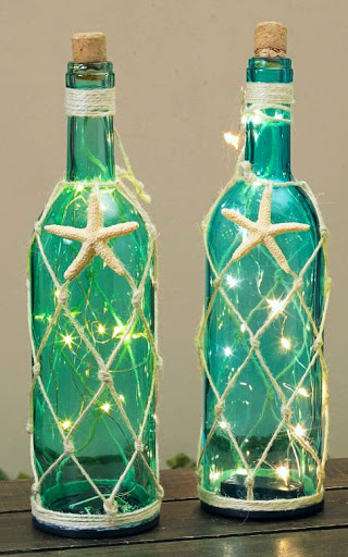 Decorative Coastal Wine Bottles