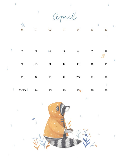 Animal Design April 2018 Calendar with Monday as the first day of the week