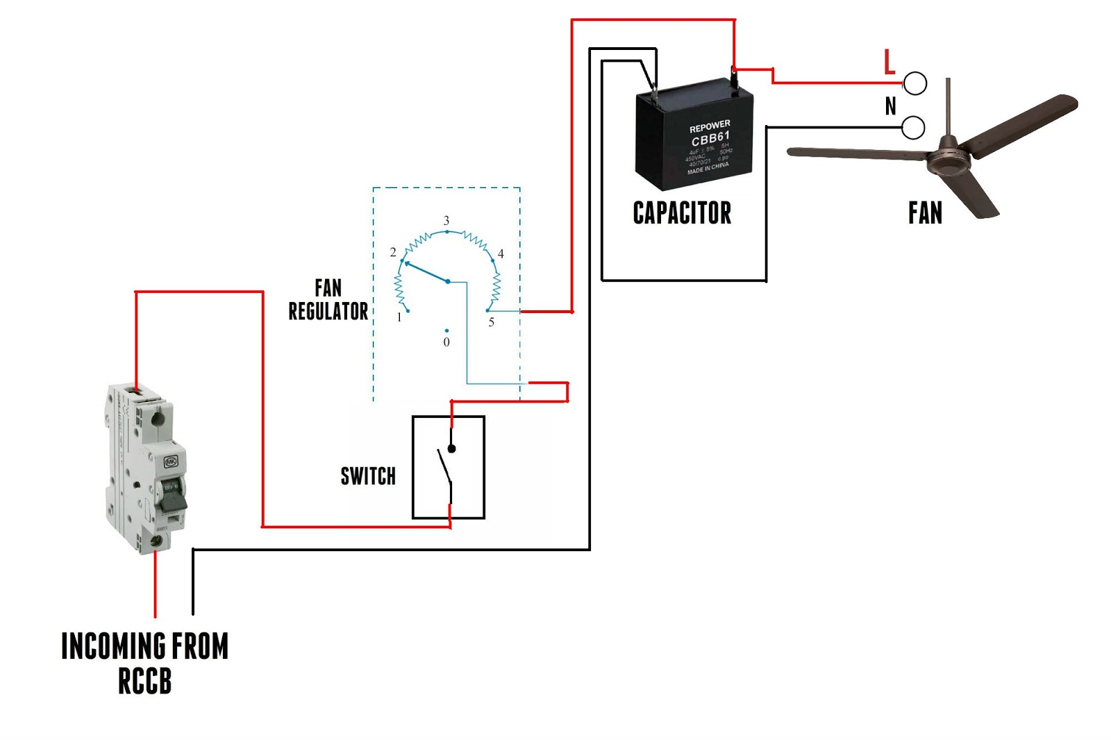 ceiling fan wiring diagram 5 wire capacitor