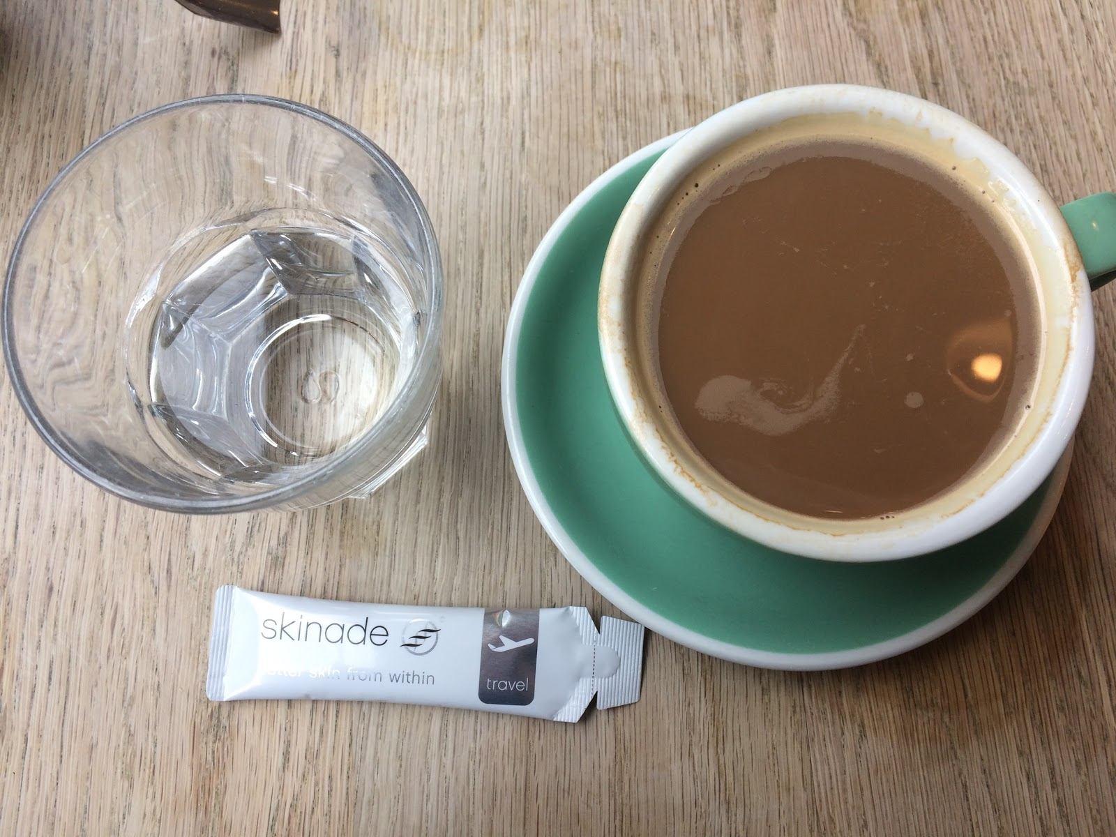 Skinade travel pack, glass of water and coffee