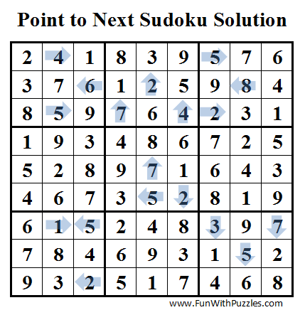 Point to Next Sudoku (Daily Sudoku League #36) Solution