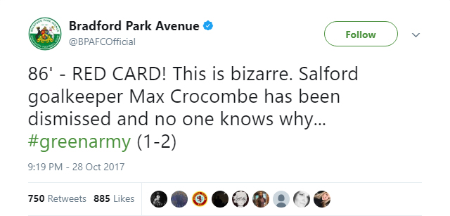 Bradford Park Avenue's Twitter account baffled by what happened with Salford goalkeeper Max Crocombe