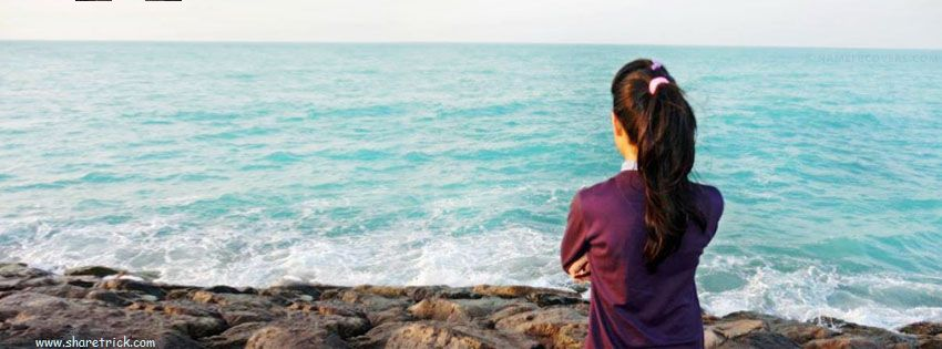 Girl watching sea Facebook cover photo is one of the coolest timeline banner photos for girls and their FB accounts plus other Social Profiles