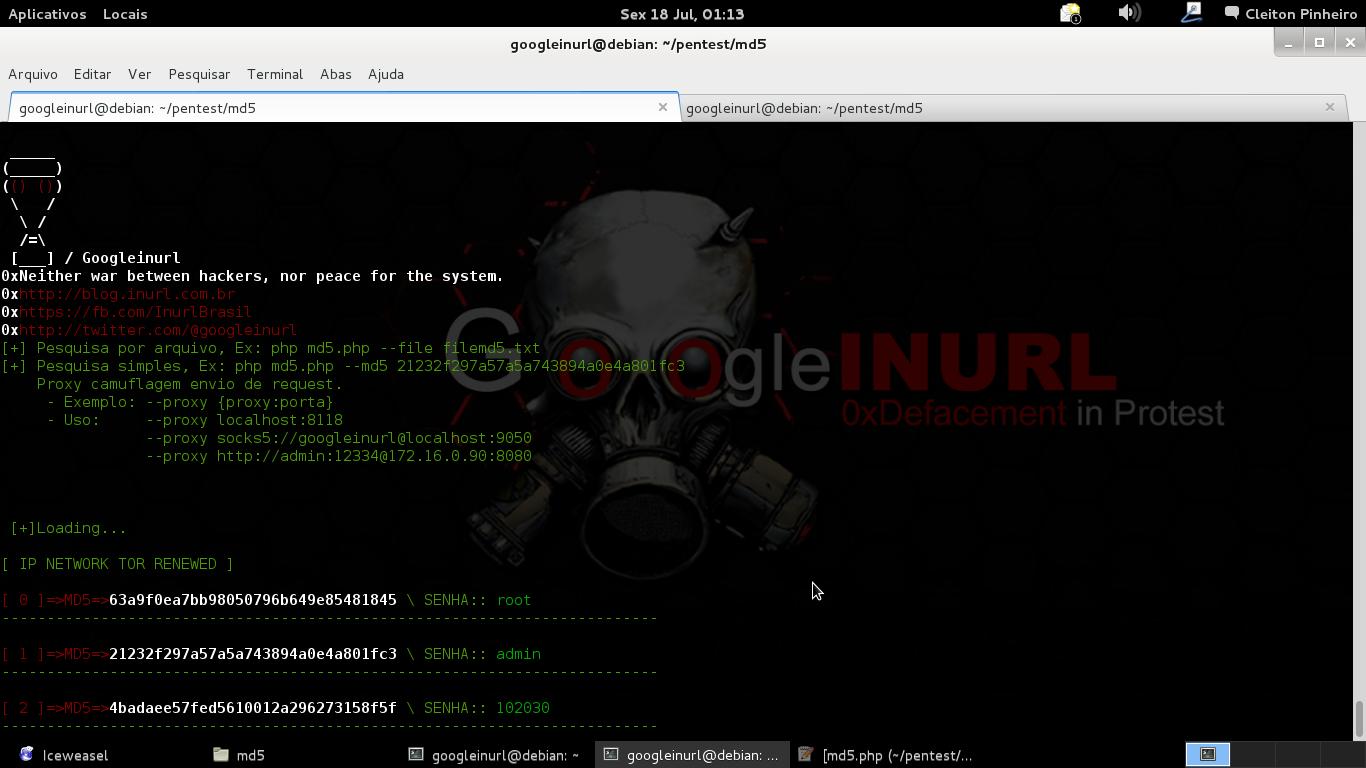 0x02 - INURLBR-API-DecrypterMD5   Utilizando serviço decrypter do site md5.gromweb.com é possível descriptografar senhas em massa, seja de um arquivo em texto ou pesquisa single