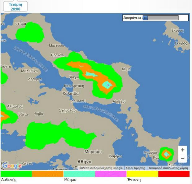 2cee356c53e5 Δείτε στους παρακάτω χάρτες πως εξελίσσεται η χιονόπτωση στην Εύβοια για  τις επόμενες ώρες... Τετάρτη από 20 00 εως τις 23 00