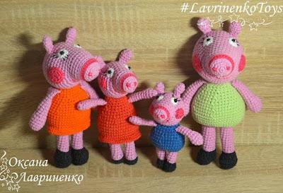 Свинка Пеппа и ее семья вязаные игрушки