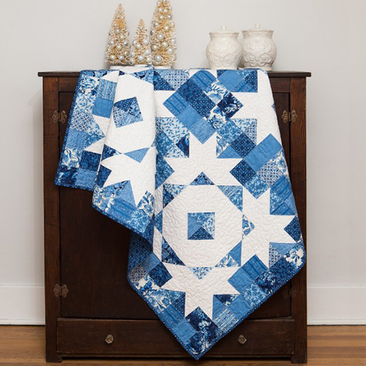 "Qube 12"" Snow Crystals Quilt Free Pattern"