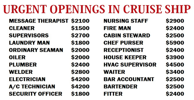 URGENT OPENINGS IN CRUISE SHIP DUBAI JOB WALKINS - Cruise ship worker blog
