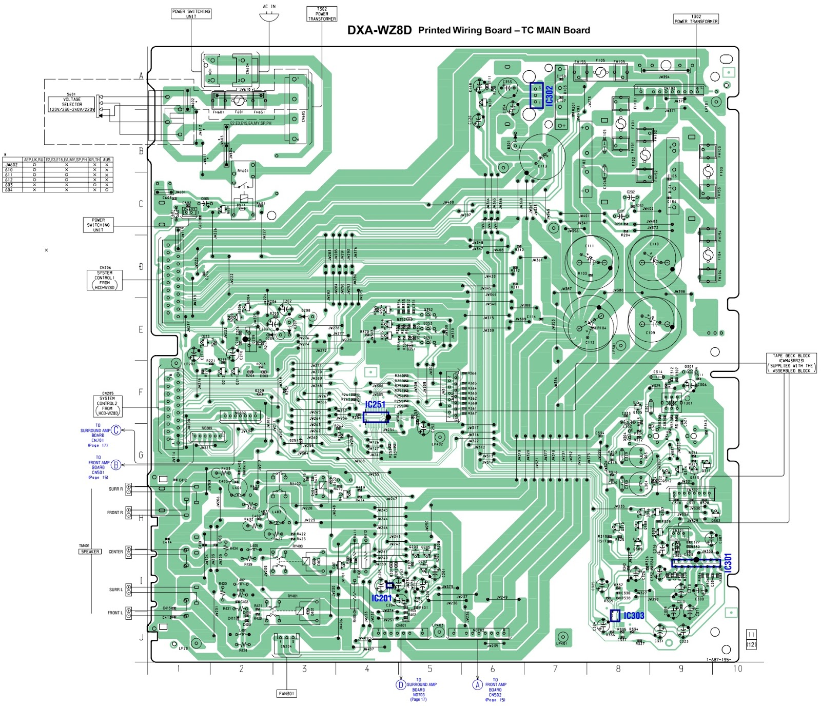 Sony Dxa Wz8d Deck And Amplifier Schematic Circuit Diagram Wiring Main Board 1of 2