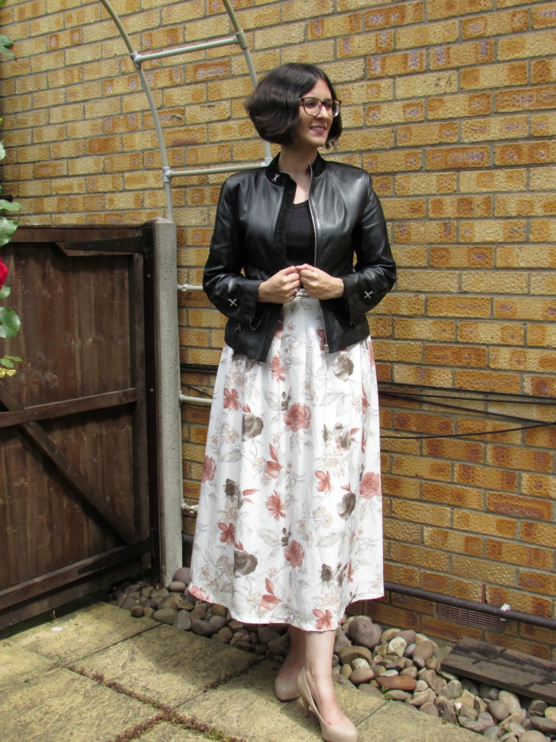 Maxi skirt with a biker jacket