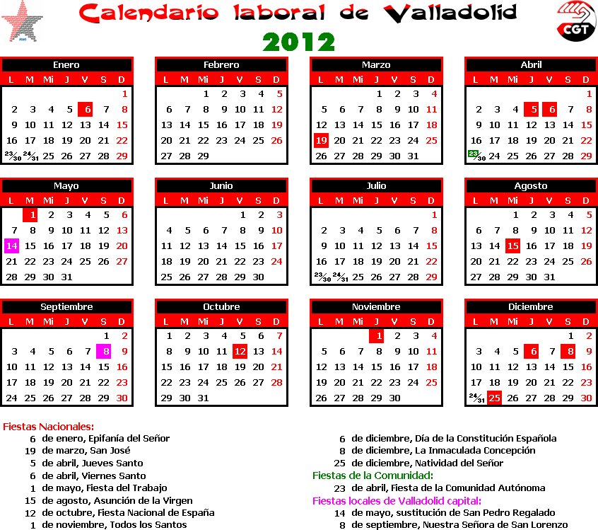 Calendario Laboral Valladolid.Gatos Sindicales Valladolid Calendario Laboral 2012 Valladolid