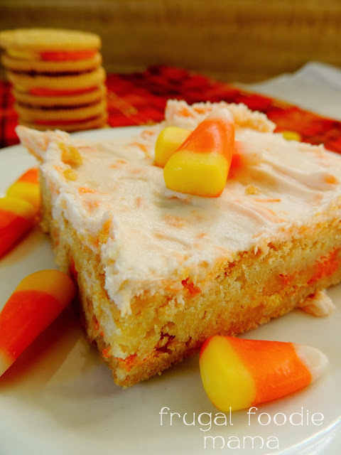 Stuffed with Candy Corn Oreos & topped with a rich candy corn buttercream, these soft, thick Frosted Candy Corn Oreo Cookie Bars are fall perfect.