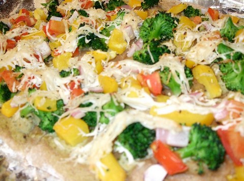 Mango and Broccoli Pizza with Soy Cheese