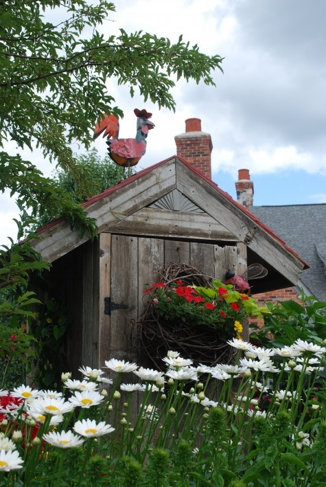 White And Green Garden Shed