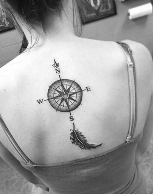 black and grey compass tattoo for back