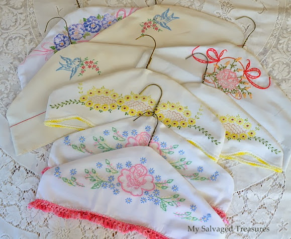 how to make hanger covers from vintage linens