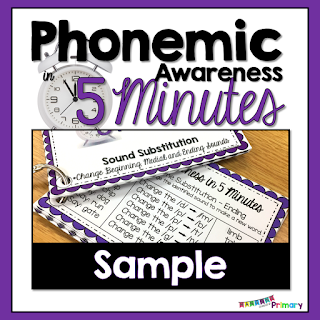 Phonemic Awareness Word Lists Sample