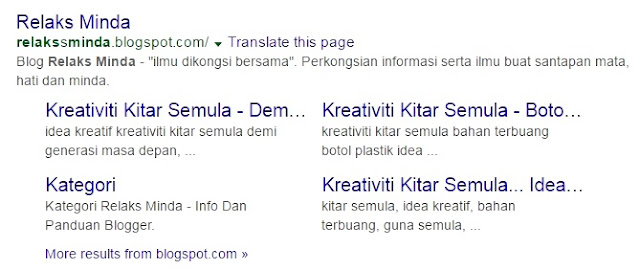 Panduan Google Webmaster - Search Appearence - Sitelink