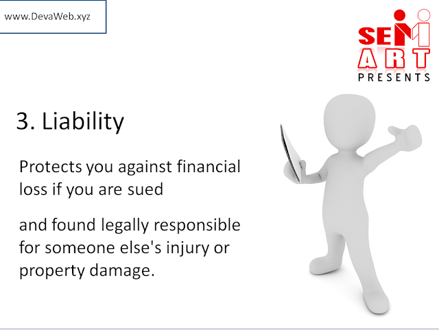 3. Liability - Protects you against financial loss if you are sued and found legally responsible for someone else's injury or property damage.