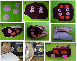 Cara 2 membuat dompet pensil unik bentuk mobil dari kain perca
