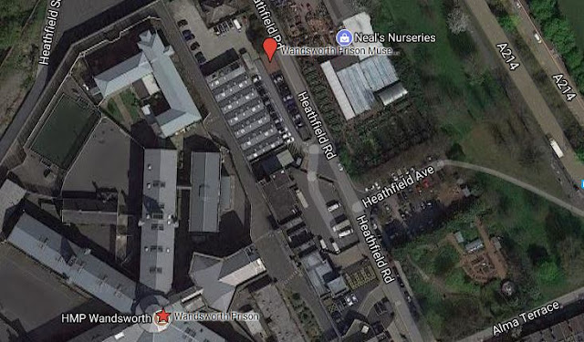 Google Satellite view of Wandsworth Prison (red star) and Wandsworth Prison Museum (red marker)