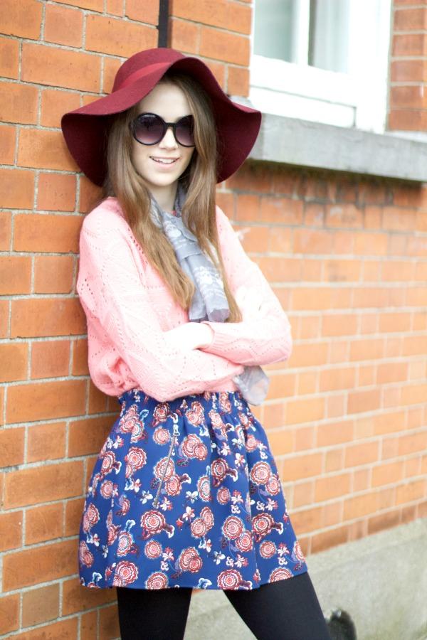 pink floral spring ootd