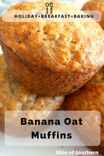 Banana Oat Muffins:  Imagine piping hot muffins filled with the aroma of bananas and cinnamon. Pure Heaven! - Slice of Southern