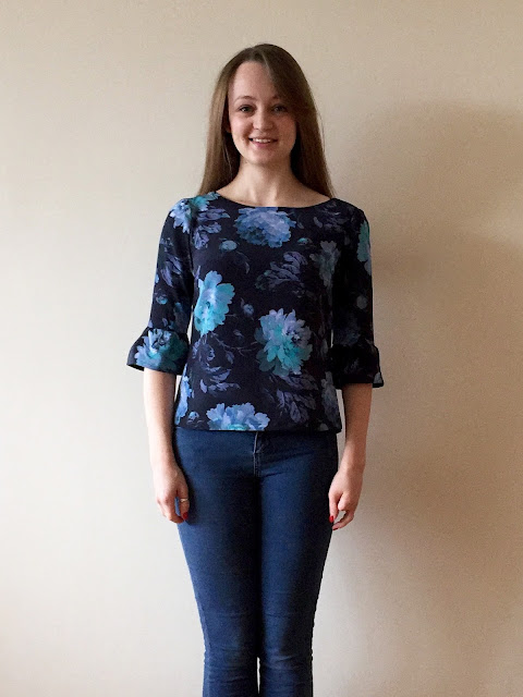 Diary of a Chain Stitcher: Floral Silk Laurel Blouse with Bell Sleeves