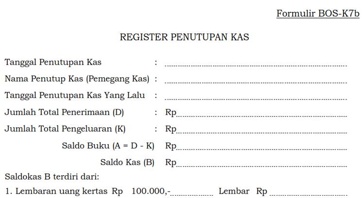 Formulir BOS K7b