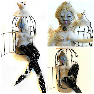 Amaryllis White Butterfly Art Doll Spirit Doll Birdcage Shabby Chic