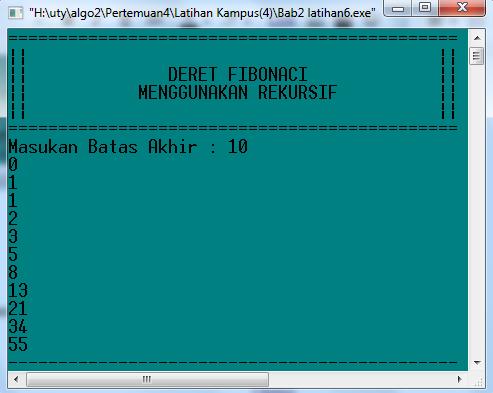 Run Program menghitung deret fibonaci dengan rekursif