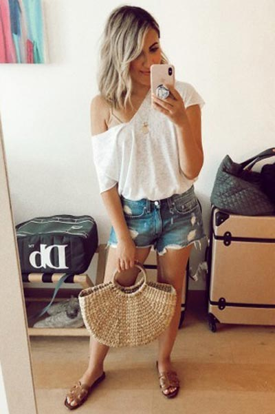 15+ Alternative Fall Outfits to Wear This Season | V neck Knit Tee + Mid Rise Denim Shorts + Tan Bag + Sam Edelman Sandals