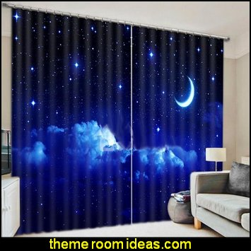 Night Sky with Moon and Stars celestial - moon - stars - astrology - galaxy theme decorating ideas - moon stars bedroom ideas - outerspace theme bedrooms - constellation bedding - night sky wall murals - moon stars wallpaper murals - moon stars bedding - star decorations