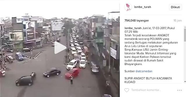 Video Angkot Tabrak Polwan, Netizen