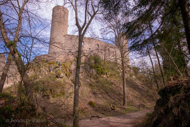 Haut-Andlau — Front ouest du haut château précédé d'une fausse-braie et d'un profond fossé.