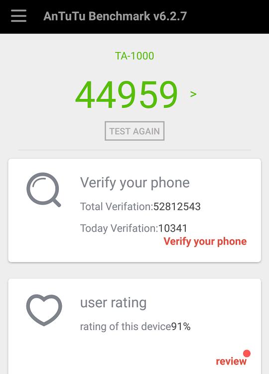 Nokia 6's Antutu Benchmark Score