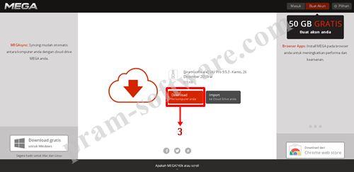 Tombol Download di Mega.co.nz