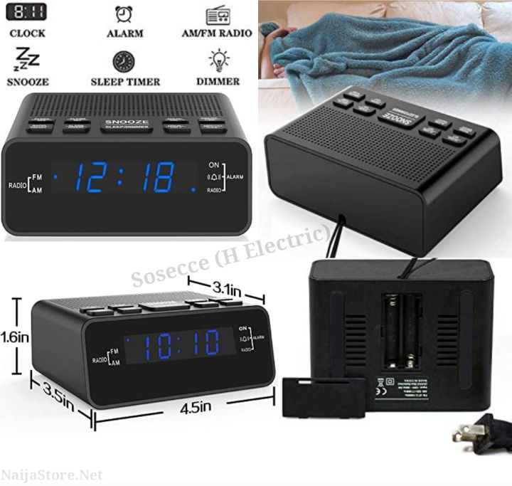 Bedside Electronic FM Radio with Timer Clock, Alarm and Dimmer - SOSECCE (H Electric) SO251US