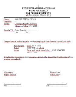 contoh surat undangan resmi kegiatan rapat orang tua peserta didik
