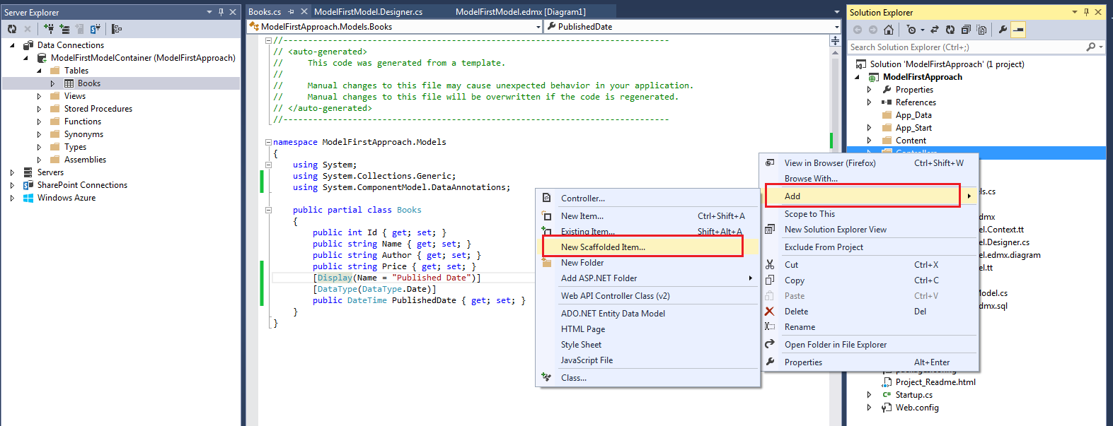 Create ASP NET MVC 5 Application Using Model First Approach