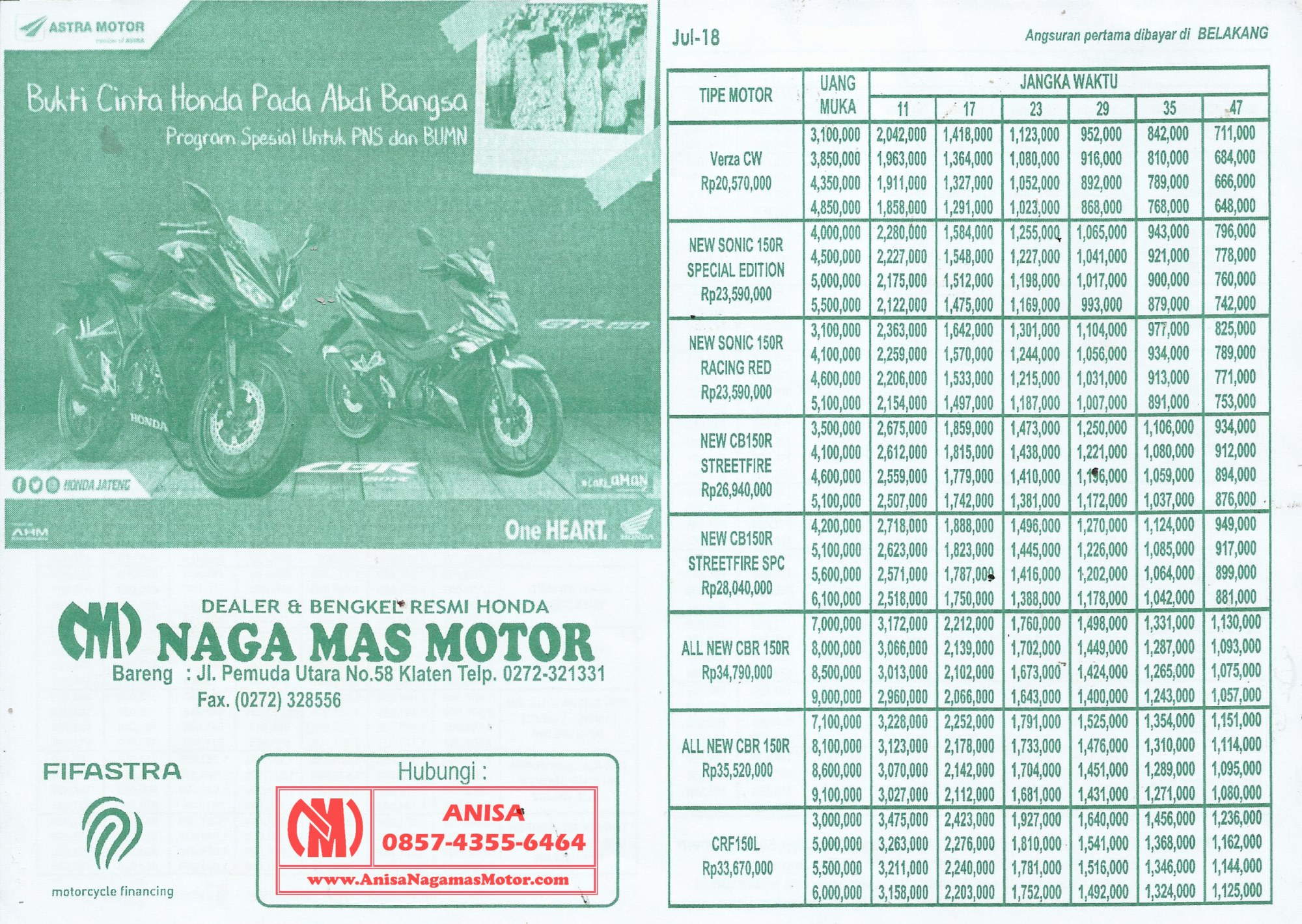 BROSUR KREDIT MOTOR HONDA TERBARU 2018 | DEALER NAGAMAS ...