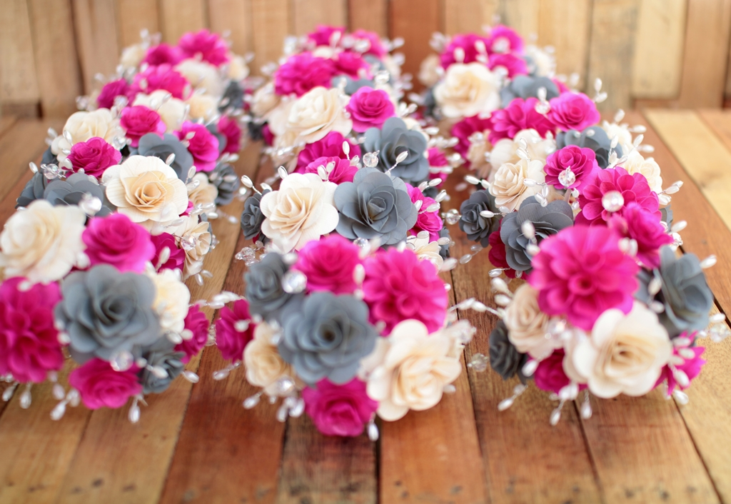 Pink And Gray Wedding Flowers Reduce Reuse Recycle