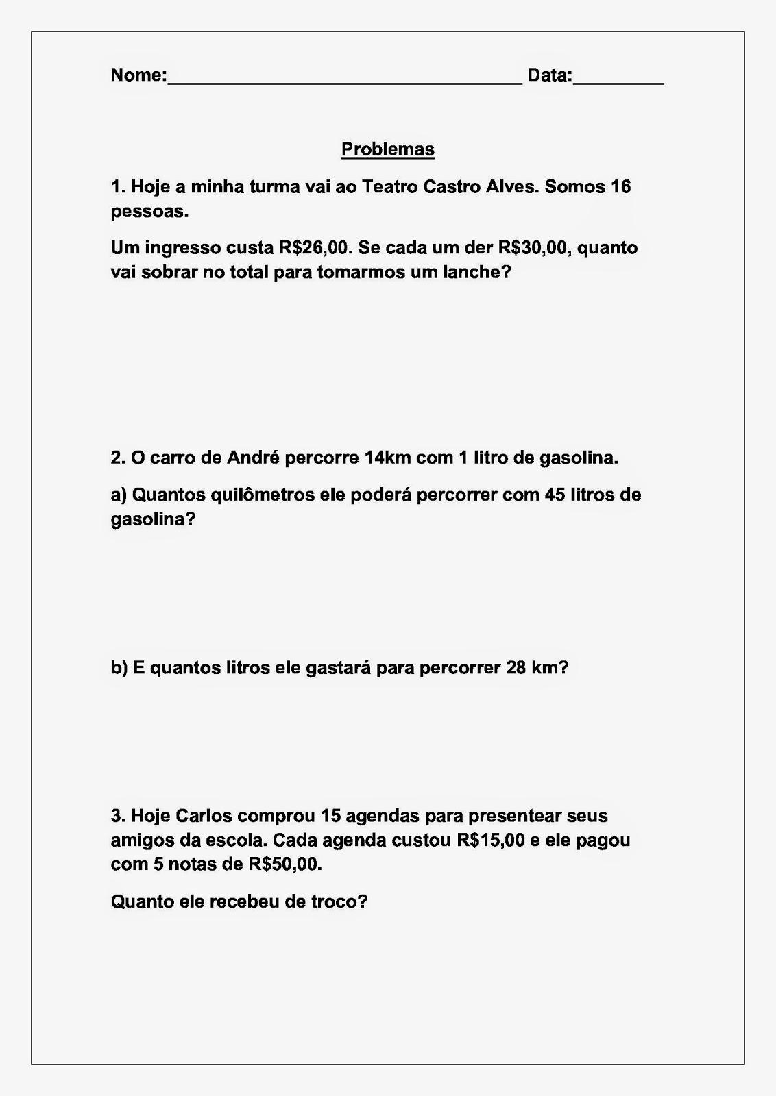 Atividades para imprimir de Matemática para Multiplicação para alunos do 4 ano - soescola.com
