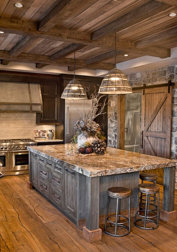 image result for alder wood rustic kitchen chalet