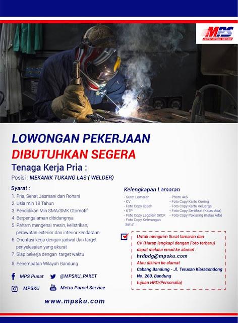 Lowongan Welder di Bandung (Pria)