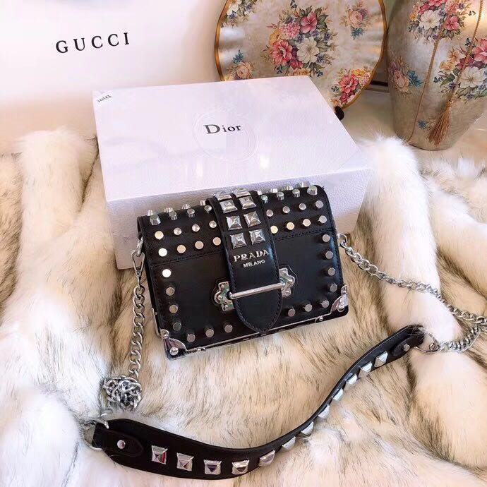 4eb0cdec66b0 PRADA Original Leather Handbag Studded Cahier Shoulder Sling Bag 🎁 Box