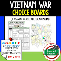 American History Digital Learning, American History Google, American History Choice Boards, Vietnam War
