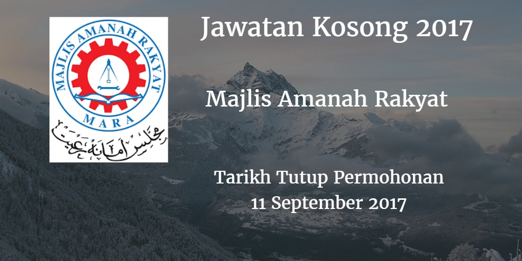 Majlis Amanah Rakyat Jawatan Kosong MARA 11 September 2017