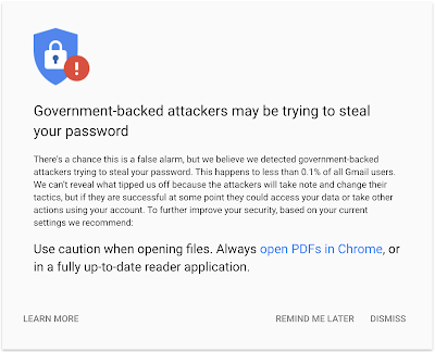 security.googleblog.com - Google - Reassuring our users about government-backed attack warnings